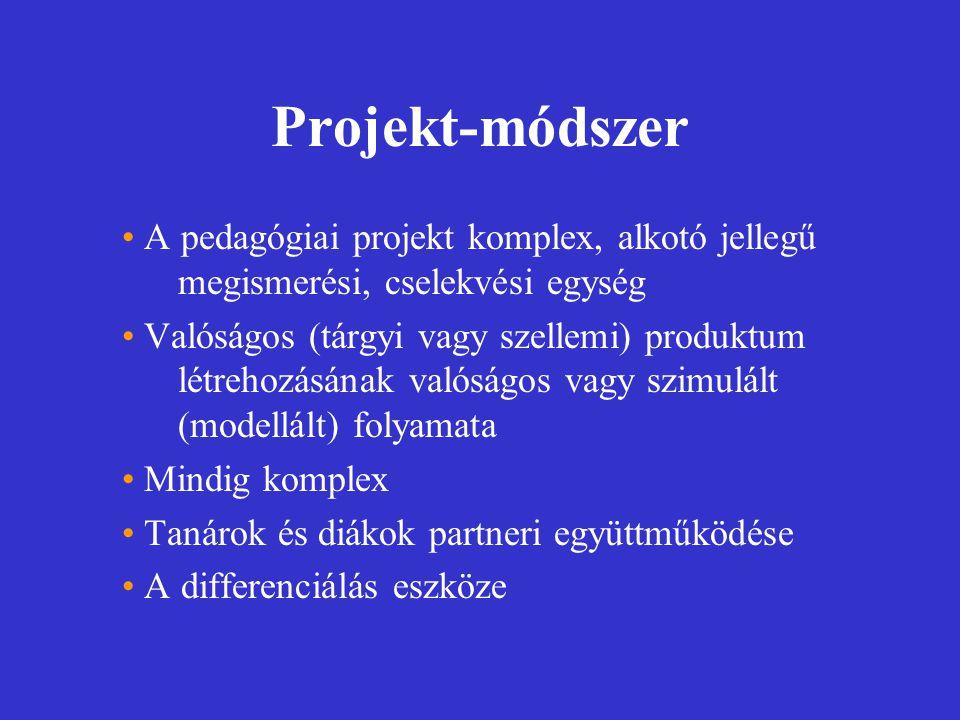 Projekt-módszer A pedagógiai projekt komplex, alkotó jellegű megismerési, cselekvési egység.