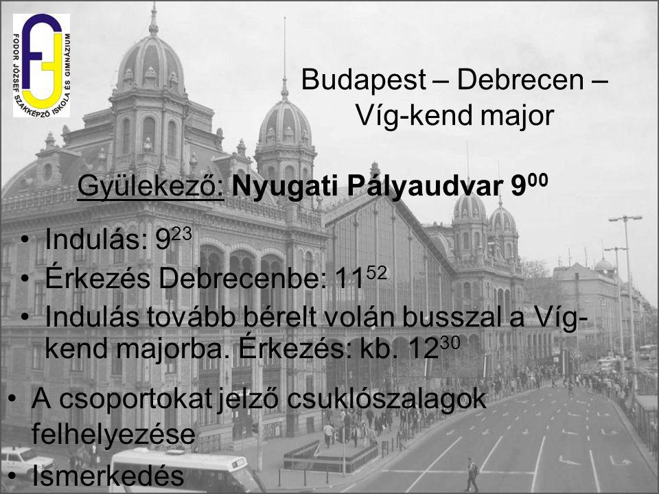 Budapest – Debrecen – Víg-kend major