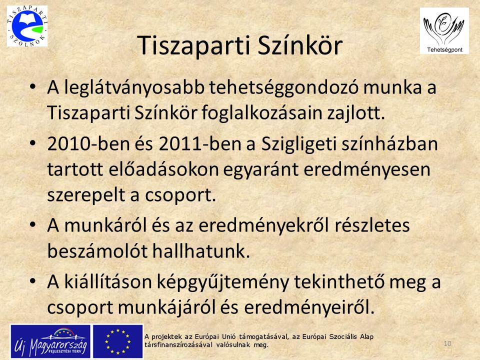 Tiszaparti Színkör A leglátványosabb tehetséggondozó munka a Tiszaparti Színkör foglalkozásain zajlott.