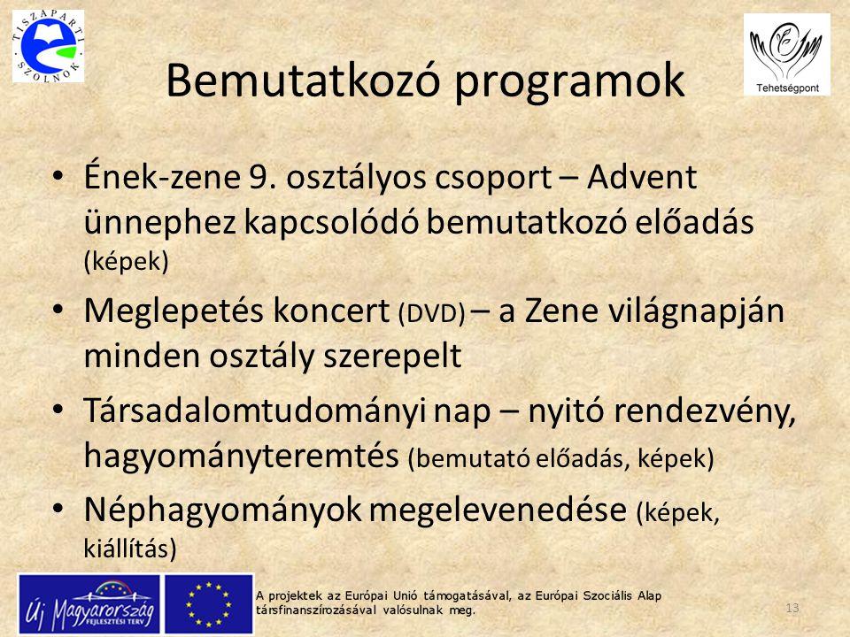 Bemutatkozó programok