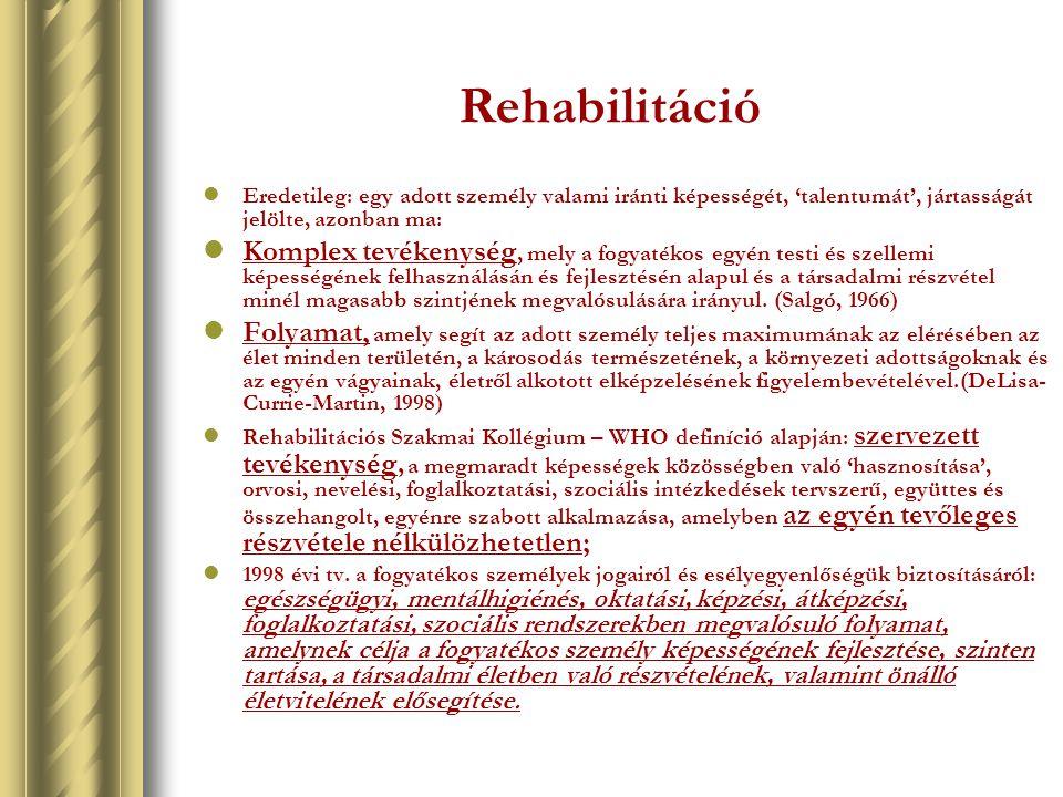 Rehabilitáció Eredetileg: egy adott személy valami iránti képességét, 'talentumát', jártasságát jelölte, azonban ma:
