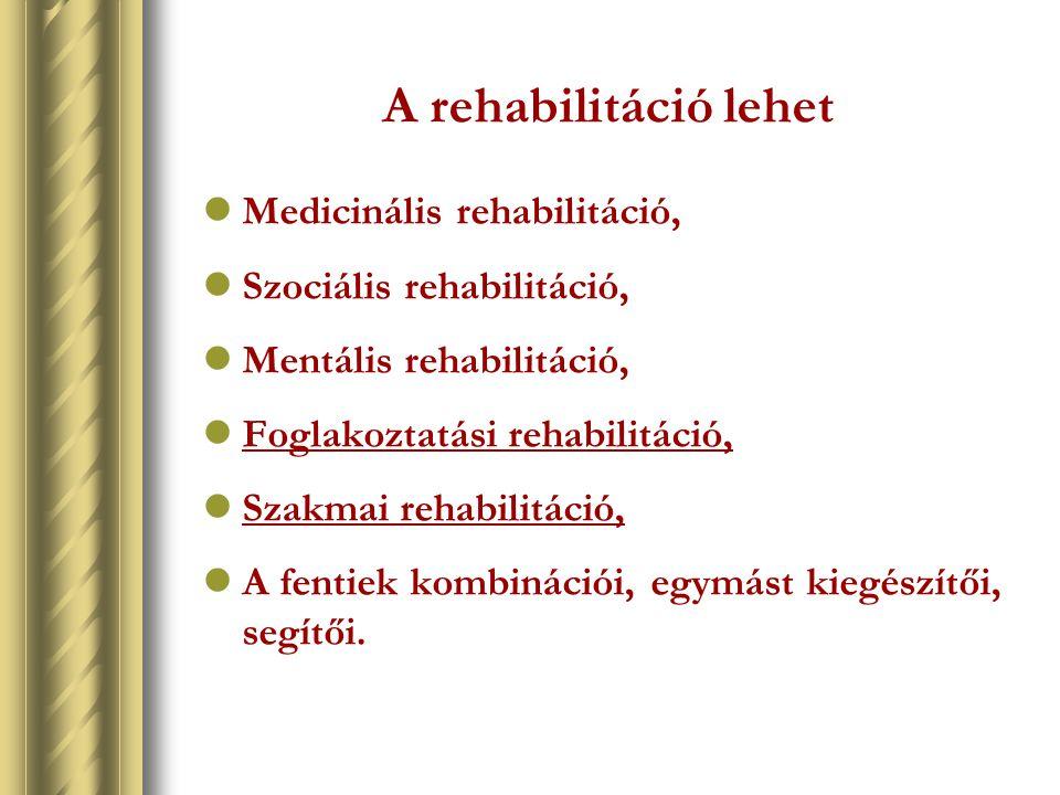 A rehabilitáció lehet Medicinális rehabilitáció,