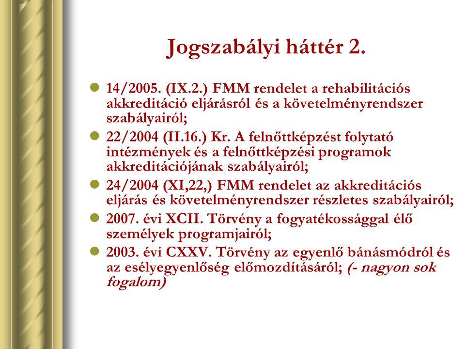 Jogszabályi háttér 2. 14/2005. (IX.2.) FMM rendelet a rehabilitációs akkreditáció eljárásról és a követelményrendszer szabályairól;