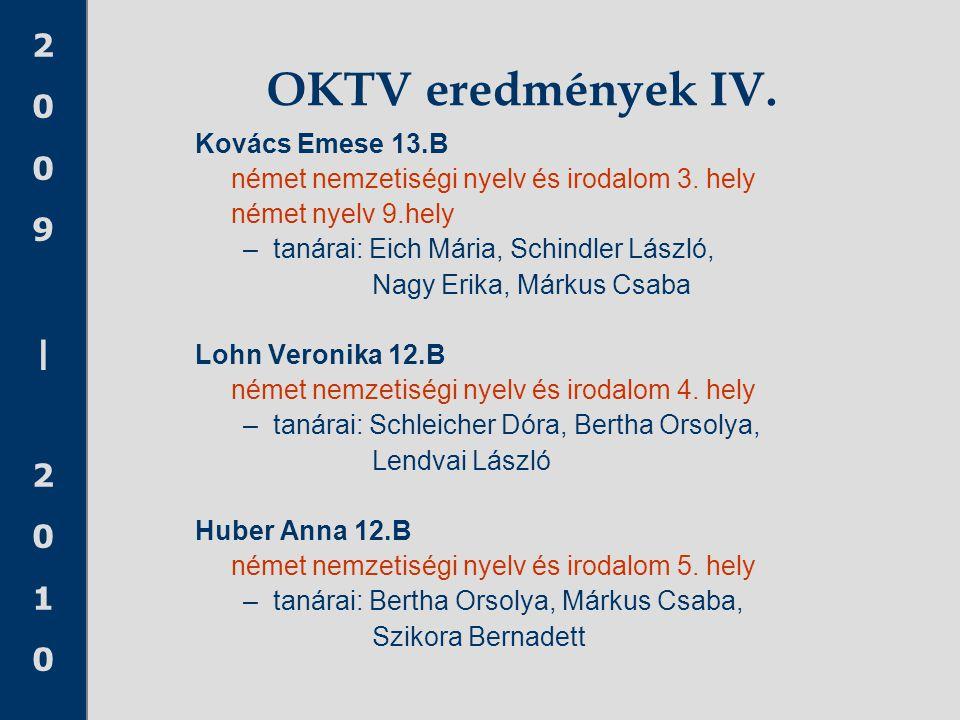 OKTV eredmények IV. Kovács Emese 13.B