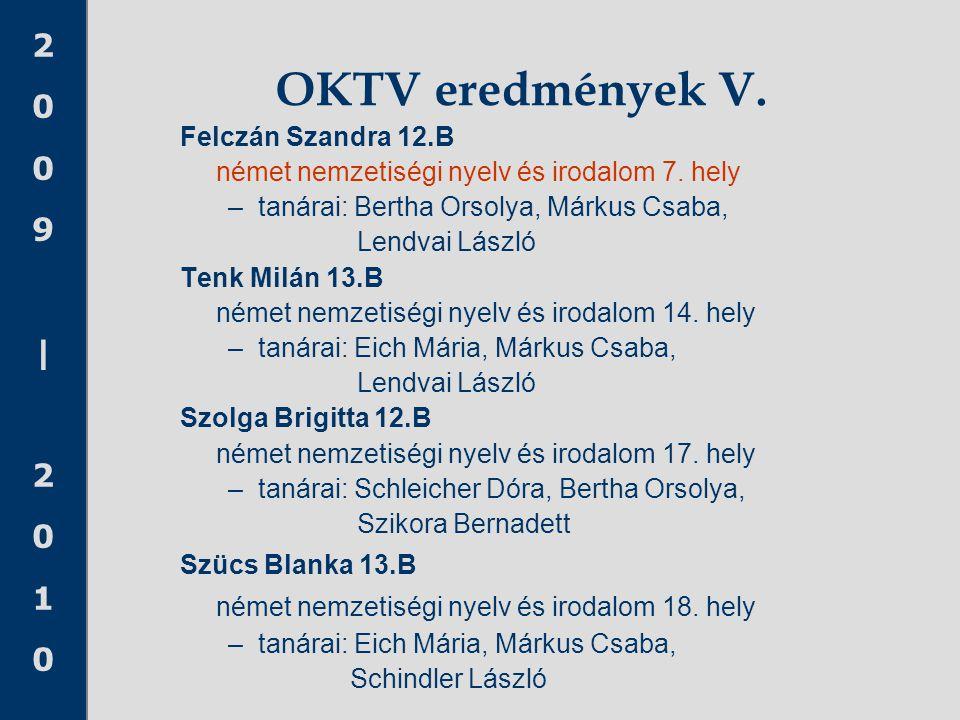 OKTV eredmények V. német nemzetiségi nyelv és irodalom 18. hely