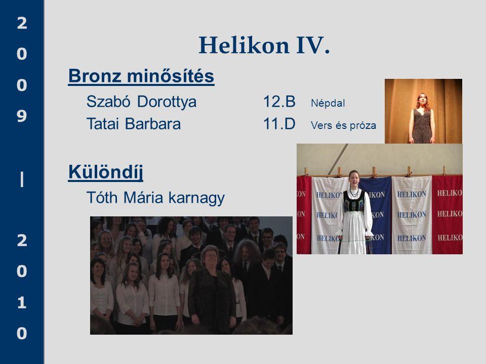 Helikon IV. Bronz minősítés Szabó Dorottya 12.B Népdal Különdíj