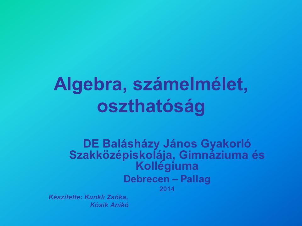 Algebra, számelmélet, oszthatóság