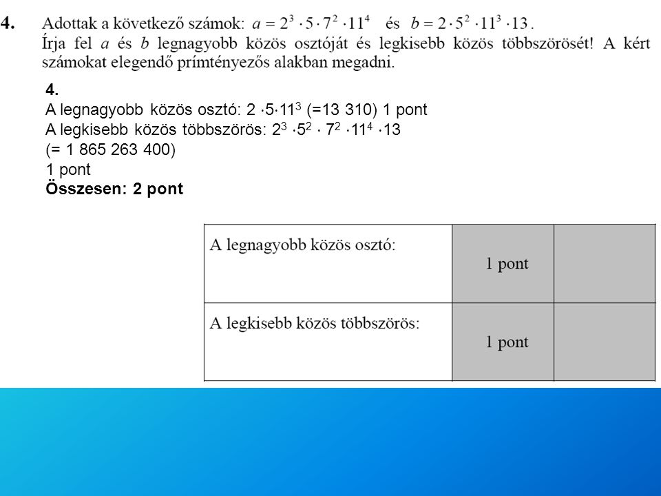 4. A legnagyobb közös osztó: 2 ⋅5⋅113 (=13 310) 1 pont. A legkisebb közös többszörös: 23 ⋅52 ⋅ 72 ⋅114 ⋅13.