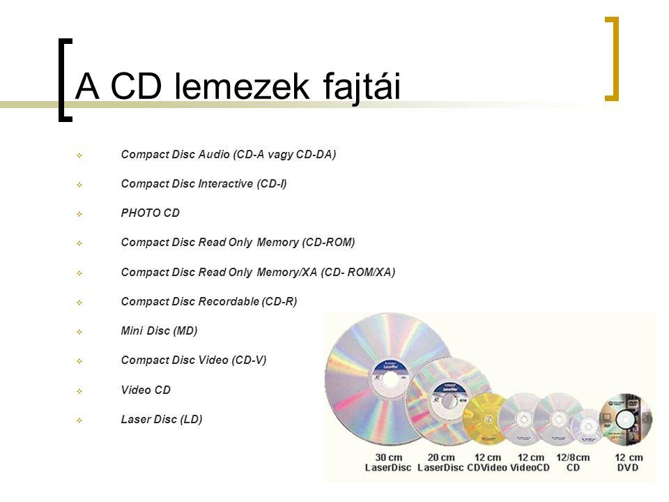 A CD lemezek fajtái Compact Disc Audio (CD-A vagy CD-DA)