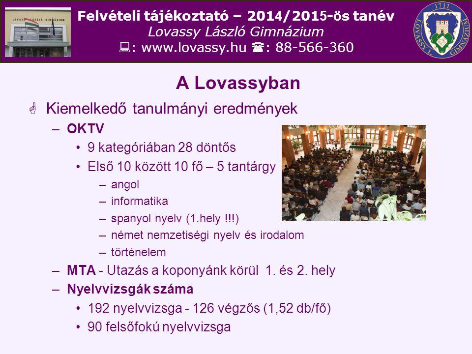 A Lovassyban Kiemelkedő tanulmányi eredmények OKTV