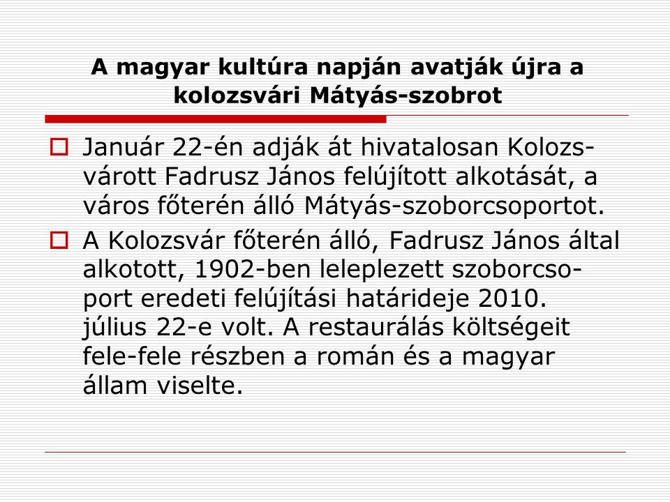 A magyar kultúra napján avatják újra a kolozsvári Mátyás-szobrot