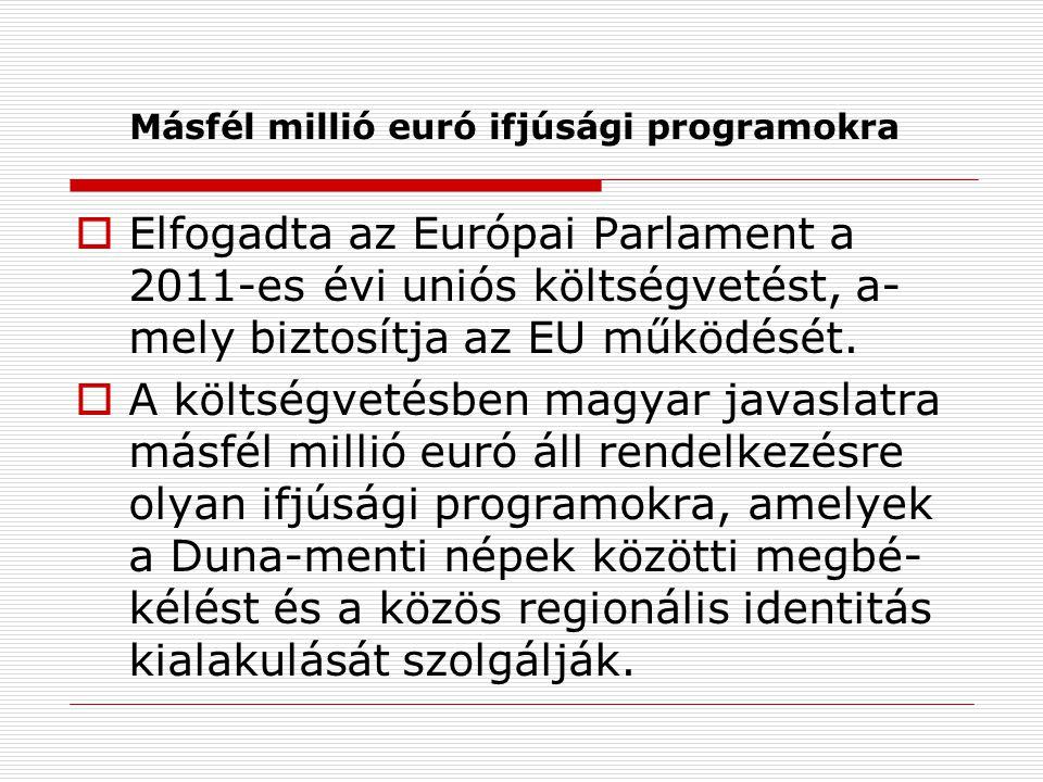 Másfél millió euró ifjúsági programokra