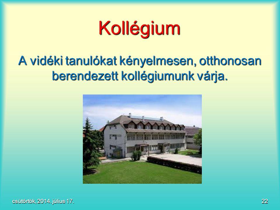 Kollégium A vidéki tanulókat kényelmesen, otthonosan berendezett kollégiumunk várja.
