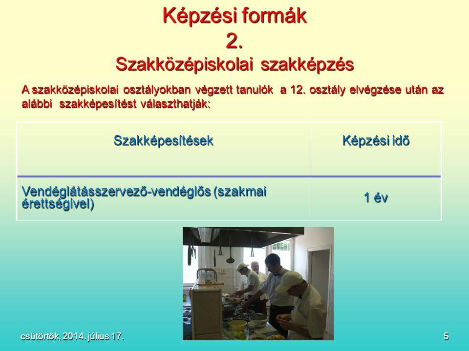 Képzési formák 2. Szakközépiskolai szakképzés