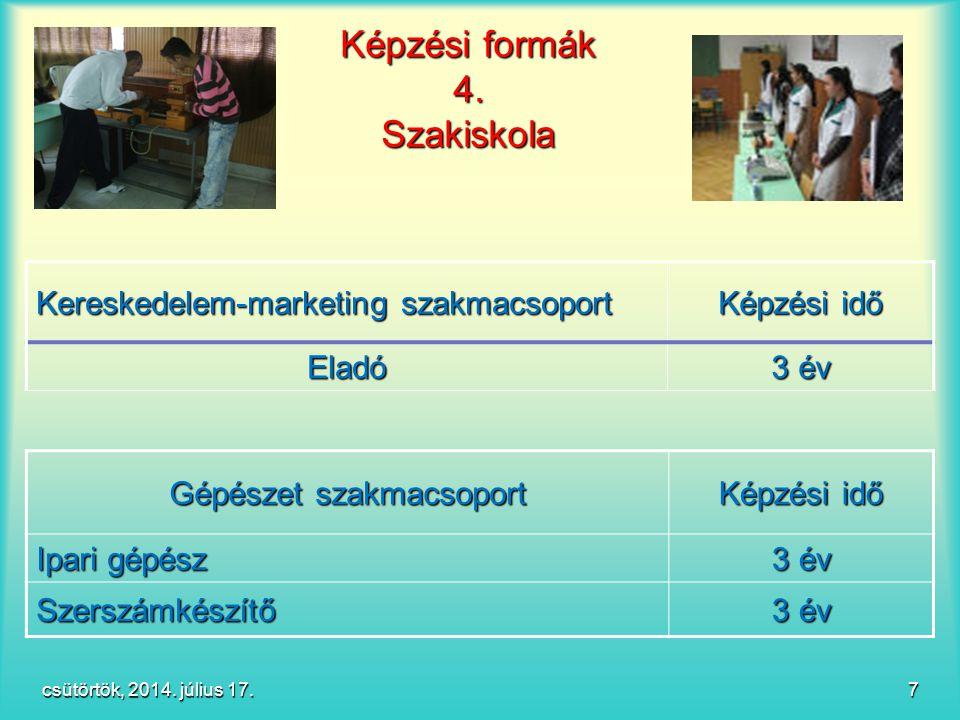 Képzési formák 4. Szakiskola