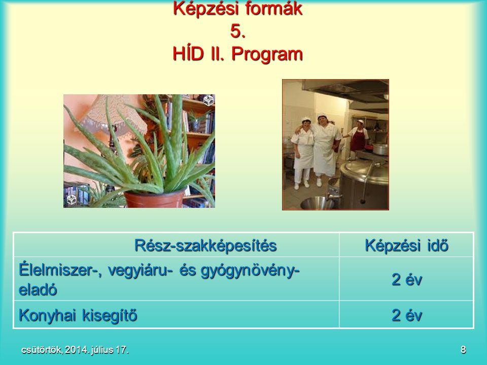 Képzési formák 5. HÍD II. Program