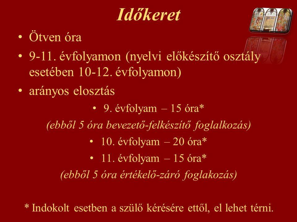 Időkeret Ötven óra. 9-11. évfolyamon (nyelvi előkészítő osztály esetében 10-12. évfolyamon) arányos elosztás.