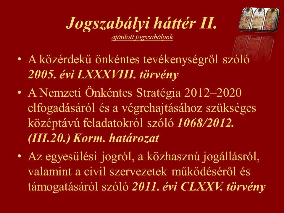 Jogszabályi háttér II. ajánlott jogszabályok