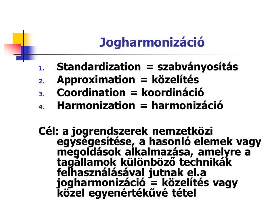 Jogharmonizáció Standardization = szabványosítás