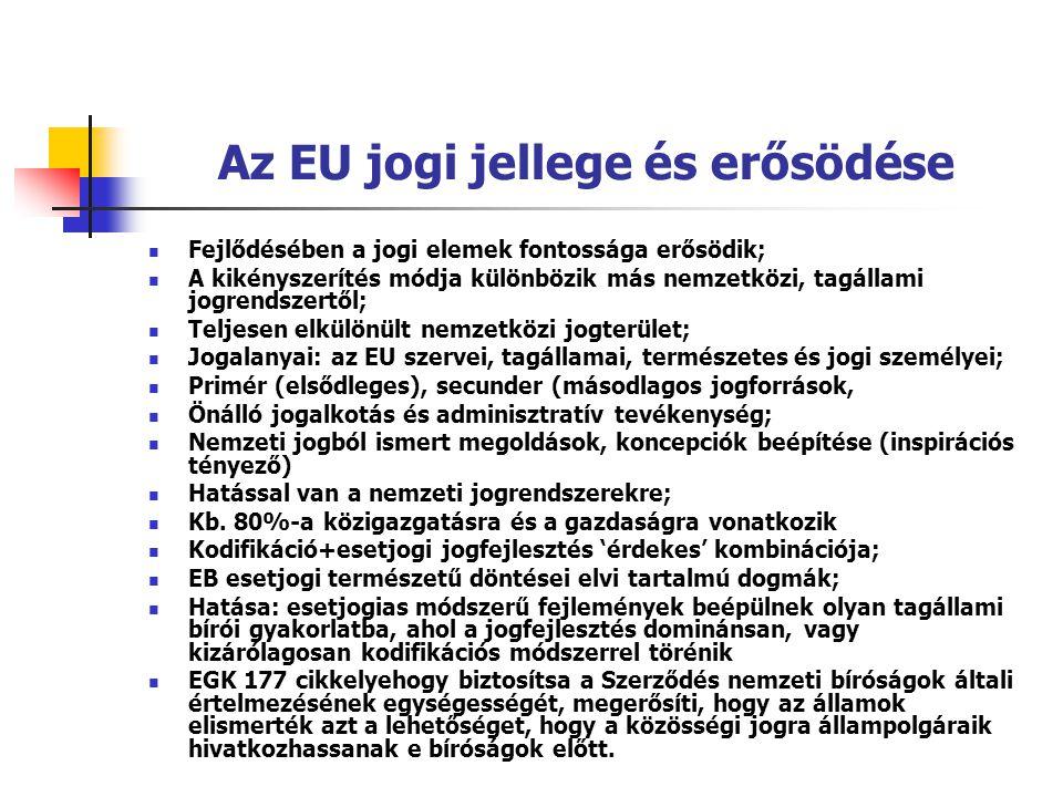 Az EU jogi jellege és erősödése