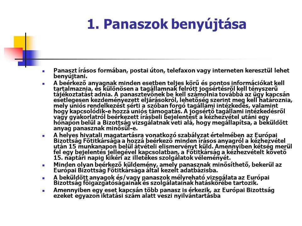 1. Panaszok benyújtása Panaszt írásos formában, postai úton, telefaxon vagy interneten keresztül lehet benyújtani.