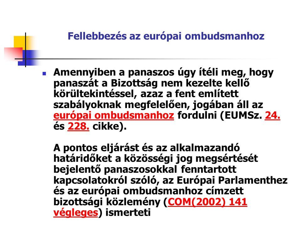 Fellebbezés az európai ombudsmanhoz