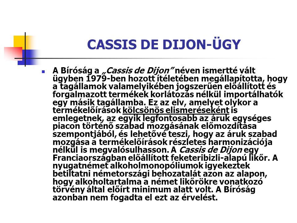 CASSIS DE DIJON-ÜGY