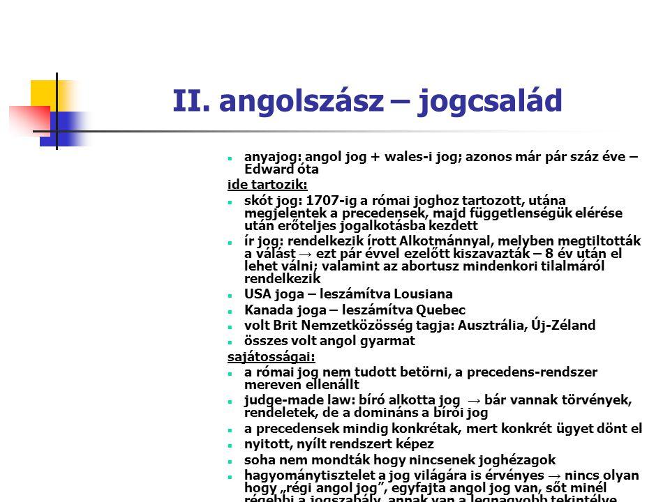 II. angolszász – jogcsalád