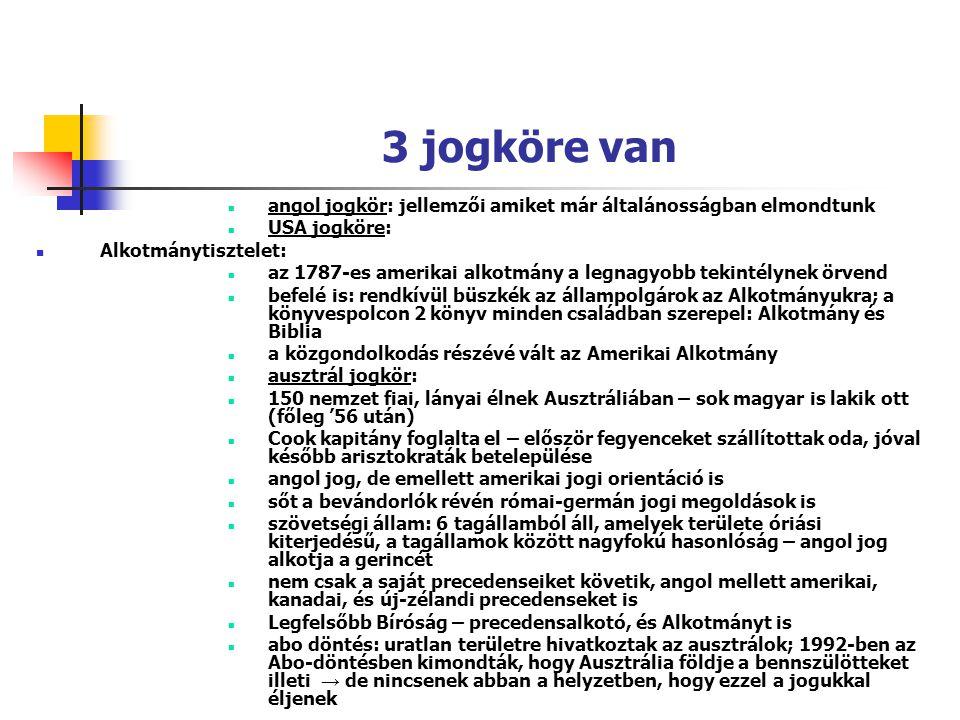 3 jogköre van angol jogkör: jellemzői amiket már általánosságban elmondtunk. USA jogköre: Alkotmánytisztelet: