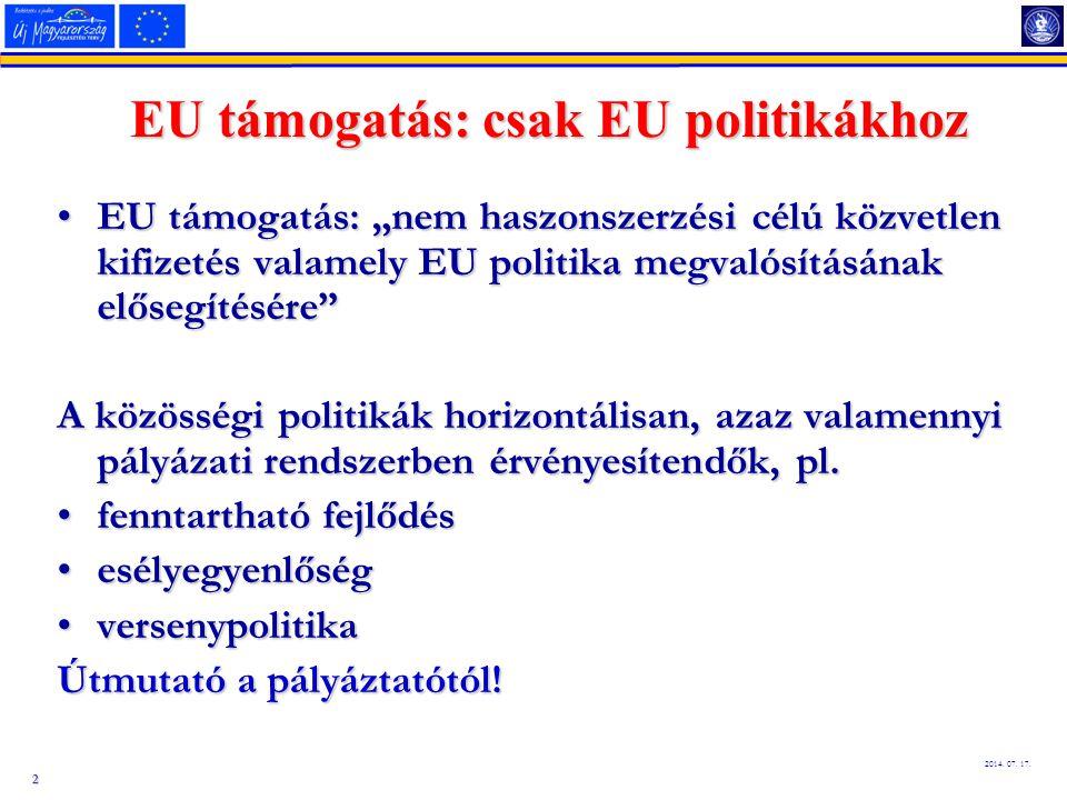 EU támogatás: csak EU politikákhoz