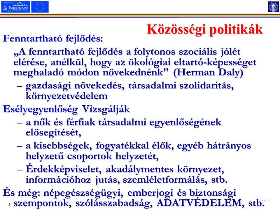Közösségi politikák Fenntartható fejlődés: