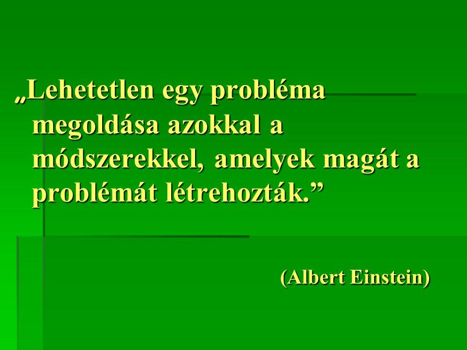 """""""Lehetetlen egy probléma megoldása azokkal a módszerekkel, amelyek magát a problémát létrehozták."""