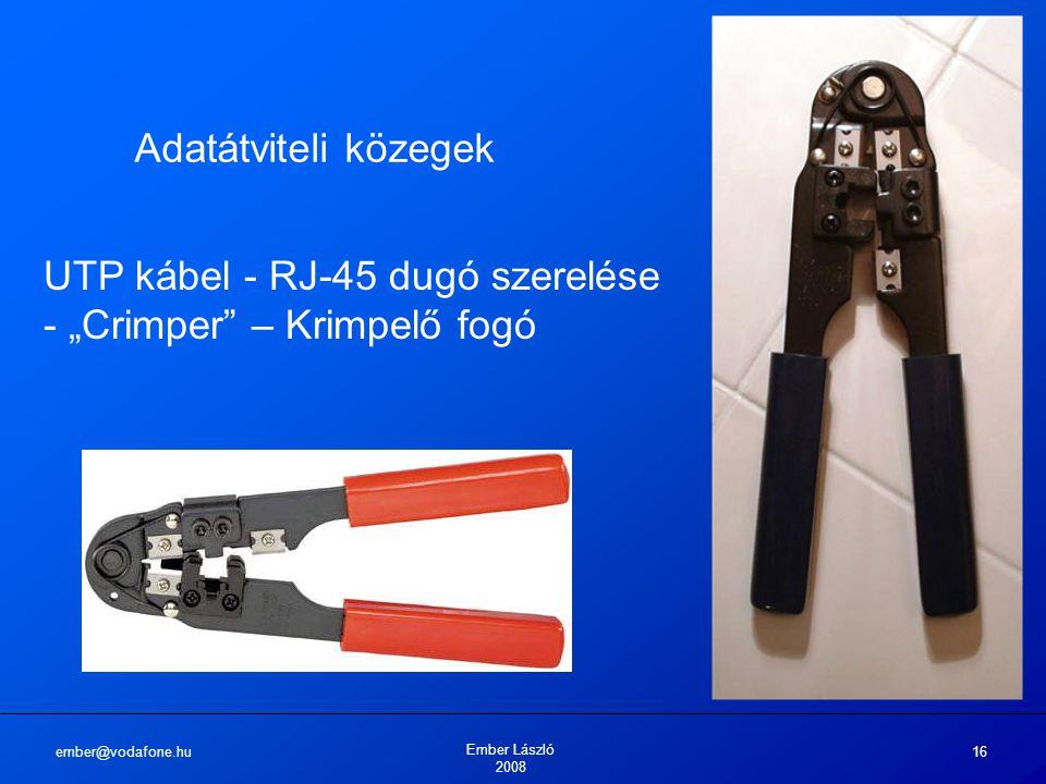 """UTP kábel - RJ-45 dugó szerelése - """"Crimper – Krimpelő fogó"""