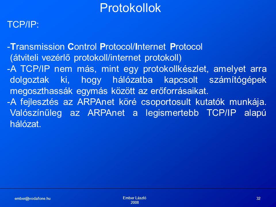 Protokollok TCP/IP: Transmission Control Protocol/Internet Protocol (átviteli vezérlő protokoll/internet protokoll)