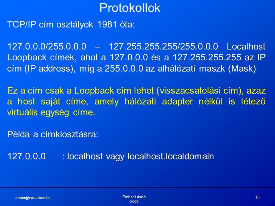 Protokollok TCP/IP cím osztályok 1981 óta: