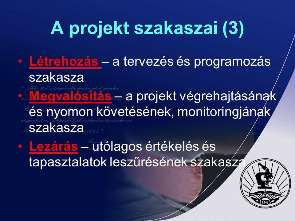 A projekt szakaszai (3) Létrehozás – a tervezés és programozás szakasza.