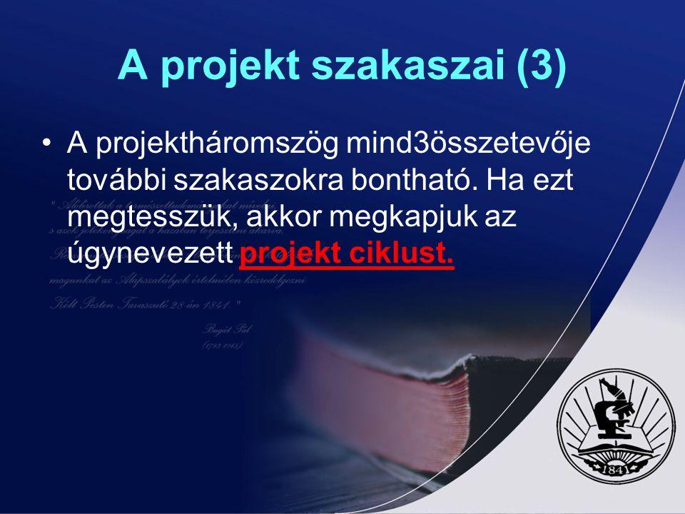 A projekt szakaszai (3)