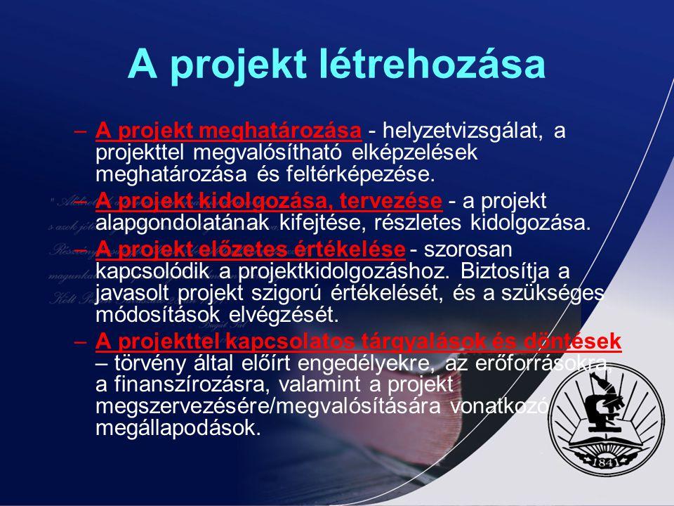A projekt létrehozása A projekt meghatározása - helyzetvizsgálat, a projekttel megvalósítható elképzelések meghatározása és feltérképezése.
