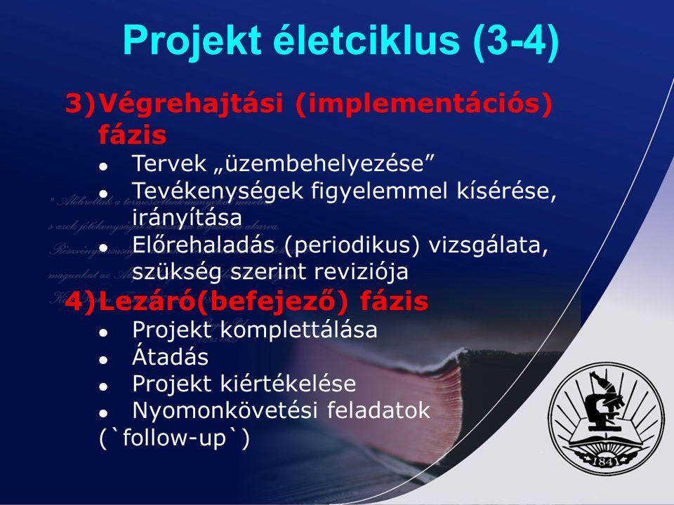 Projekt életciklus (3-4)