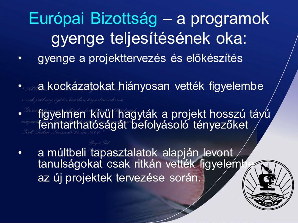 Európai Bizottság – a programok gyenge teljesítésének oka: