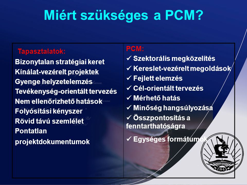 Miért szükséges a PCM Tapasztalatok: PCM:  Szektorális megközelítés