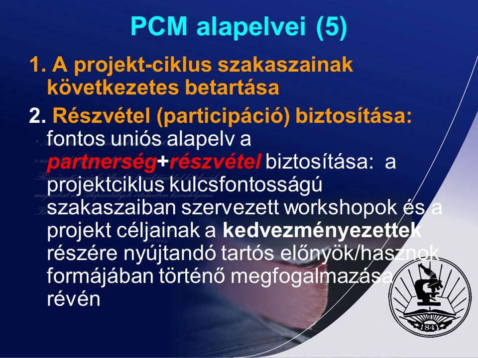 PCM alapelvei (5) 1. A projekt-ciklus szakaszainak következetes betartása.