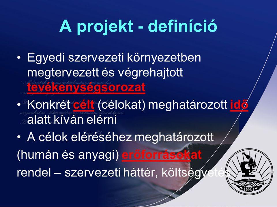 A projekt - definíció Egyedi szervezeti környezetben megtervezett és végrehajtott tevékenységsorozat.