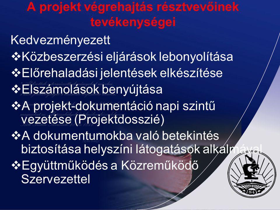 A projekt végrehajtás résztvevőinek tevékenységei