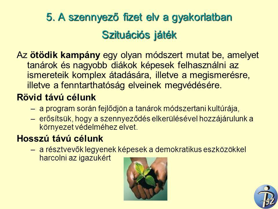 5. A szennyező fizet elv a gyakorlatban Szituációs játék