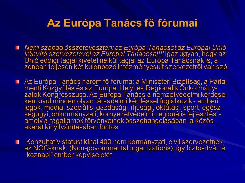 Az Európa Tanács fő fórumai