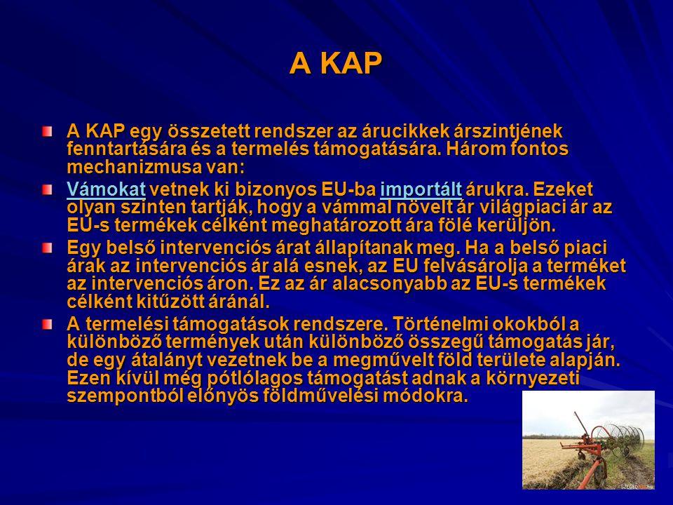 A KAP A KAP egy összetett rendszer az árucikkek árszintjének fenntartására és a termelés támogatására. Három fontos mechanizmusa van: