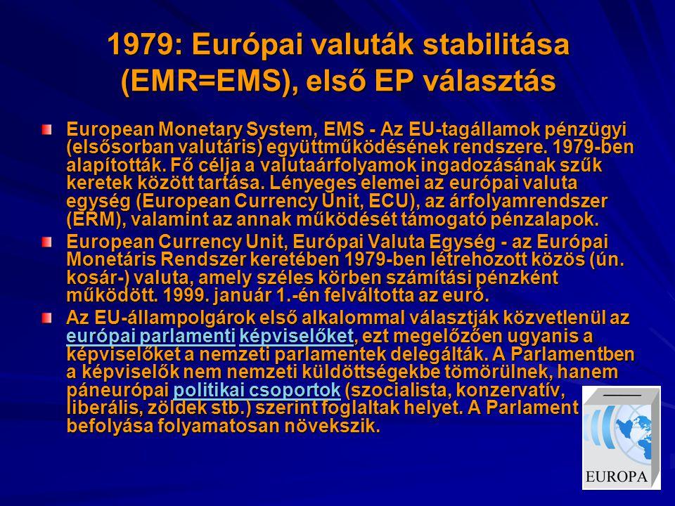 1979: Európai valuták stabilitása (EMR=EMS), első EP választás