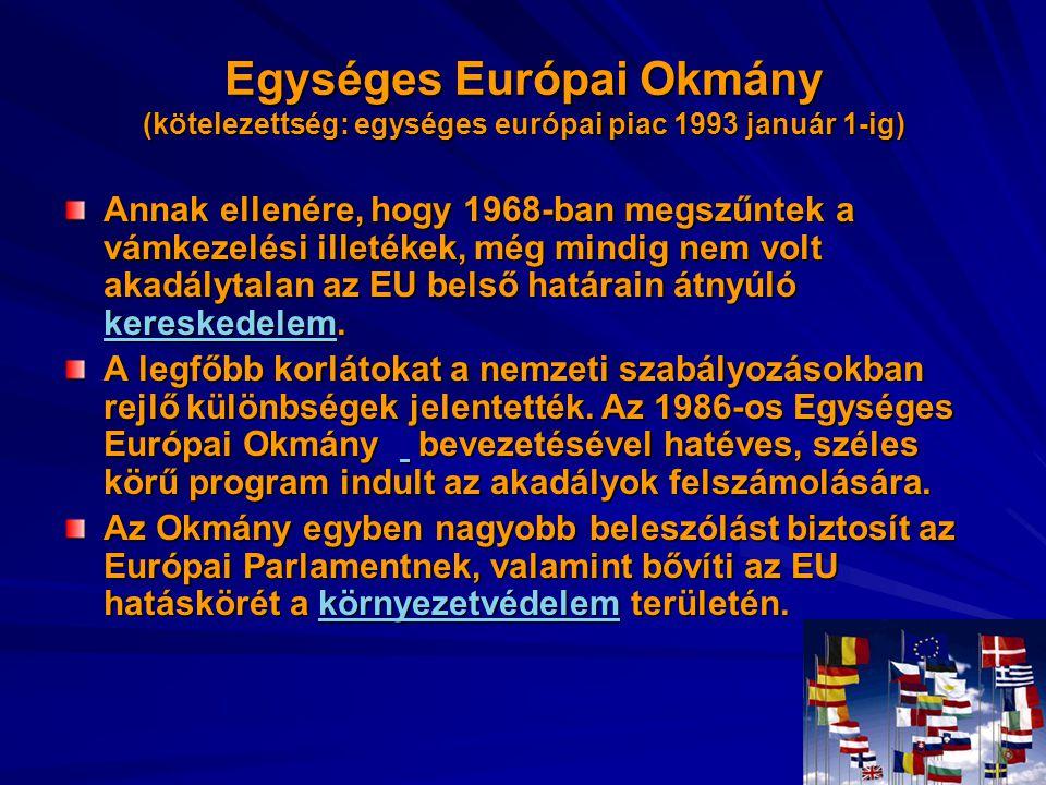 Egységes Európai Okmány (kötelezettség: egységes európai piac 1993 január 1-ig)