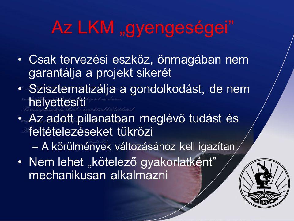 """Az LKM """"gyengeségei Csak tervezési eszköz, önmagában nem garantálja a projekt sikerét. Szisztematizálja a gondolkodást, de nem helyettesíti."""